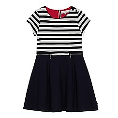 J by Jasper Conran - Girls' navy striped top ponte dress