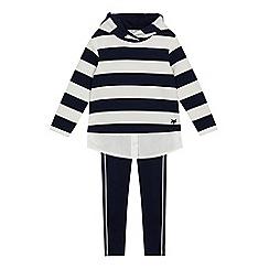 J by Jasper Conran - Girls' navy striped mock hoodie and leggings set