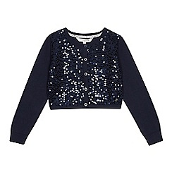 J by Jasper Conran - Girls' navy sequinned cotton cardigan