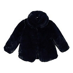 J by Jasper Conran - Girls' navy faux fur coat