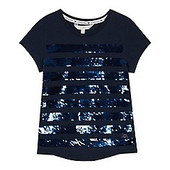 J by Jasper Conran - Girls' navy sequin stripe T-shirt