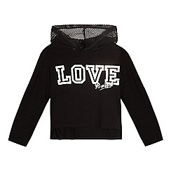 Pineapple - Girls' black mesh trim hoodie