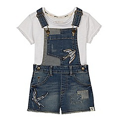 Mantaray - 'Girls' blue bird embroidered denim dungarees and top set
