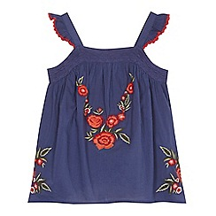 Mantaray - 'Girls' navy floral embroidered sleeveless top