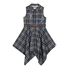 Mantaray - Girls' blue swallow embroidered shirt dress