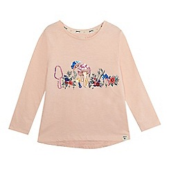 Mantaray - Girls' pink embroidered sequinned mushroom top
