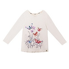 Mantaray - Girls' off white butterfly print top