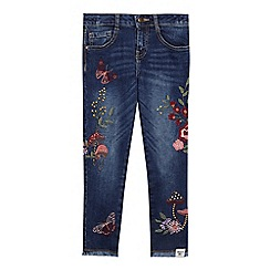 Mantaray - Girls' mid blue embroidered jeans