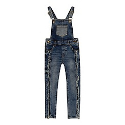Mantaray - Girls' blue frayed denim dungarees