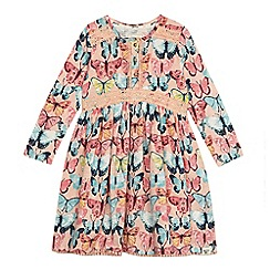 Mantaray - 'Girls' light pink butterfly print jersey dress