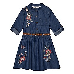 Mantaray - 'Girls' blue floral embroidered denim dress