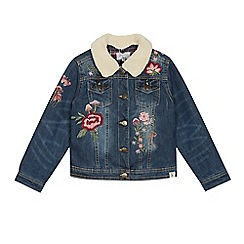 Mantaray - Girls' blue woodland embroidered denim jacket