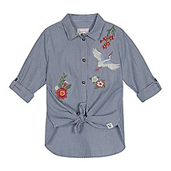 Mantaray - Girls' blue embroidered shirt