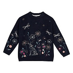 Mantaray - Girls' Navy Floral Embroidered Jumper