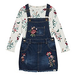 Mantaray - Girls' mid blue floral embroidered pinny and top set