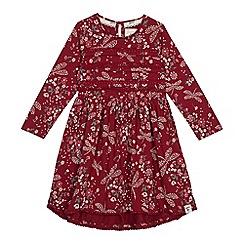 Mantaray - Girls' maroon dragonfly print jersey dress