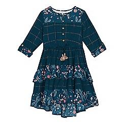 Mantaray - Girls' green checked and floral print dress