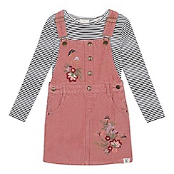 Mantaray - Girls' navy woodland print embroidered cord top and pinny set