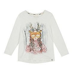 Mantaray - Girls' natural embroidered sequinned reindeer girl top