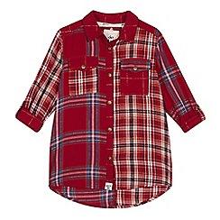 Mantaray - Girls' red mix checked long sleeve shirt