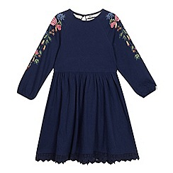 Mantaray - Girls' Navy Floral Embroidered Sleeve Dress