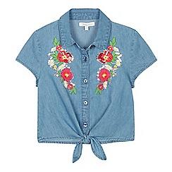 bluezoo - Girls' Blue Floral Embroidered Knot Hem Denim Top