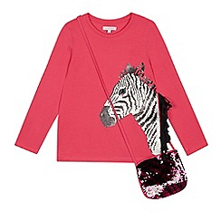 bluezoo - Girls' Pink Sequinned Zebra Top with a Bag