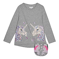 bluezoo - Girls' Grey Sequinned Unicorn T-shirt with a Bag