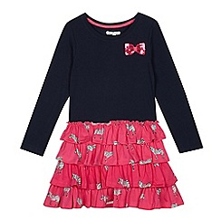 bluezoo - Girls' Navy Zebra Print Rara Dress