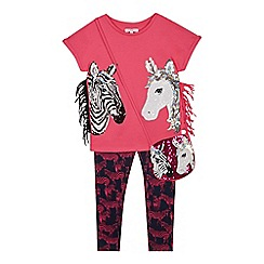 bluezoo - Girls' Pink Sequinned Unicorn Cotton T-Shirt, Leggings and Bag Set