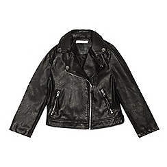 bluezoo - Girls' Black Faux Leather Biker Jacket
