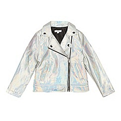 bluezoo - Girls' Silver Holographic Biker Jacket