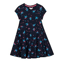 bluezoo - Girls'Navy Unicorn Print Dress