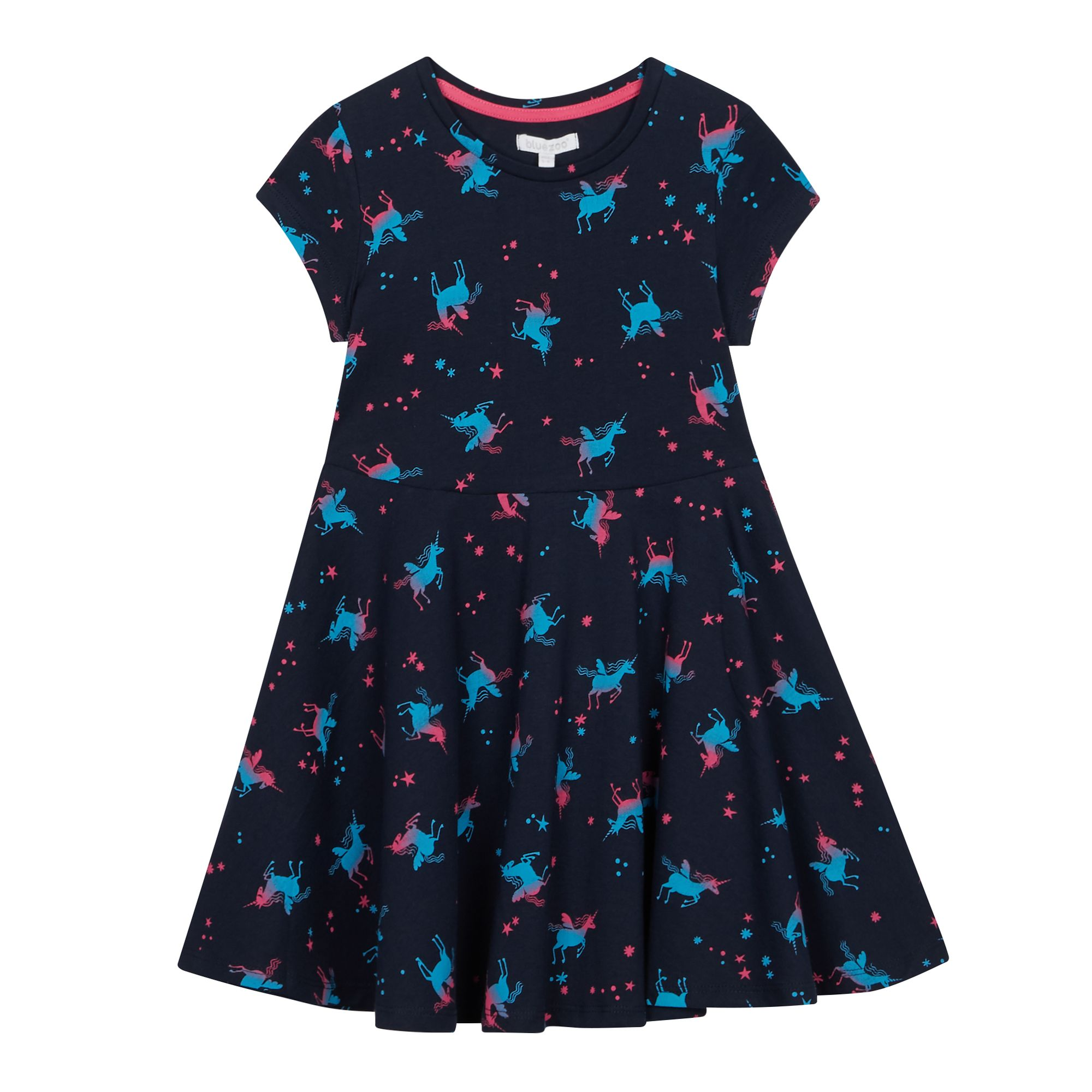 c30a452fc9 Responsive image. FREE Standard Delivery on orders over £45. Bluezoo Kids  Girls'navy Unicorn Print Dress