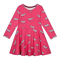 bluezoo - Girls' Bright Pink Zebra Print Dress