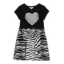 f1105774a4 bluezoo - Girls  Black Reversible Sequinned Zebra Print Dress