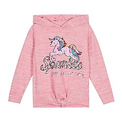 bluezoo - Girls' Pink Sequinned Unicorn Hoodie
