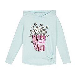 bluezoo - Girls' Aqua Sequinned Popcorn Hoodie