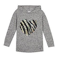 bluezoo - Girls' Grey Sequinned Heart Hoodie