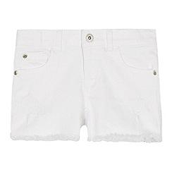 bluezoo - Girls' White Distressed Denim Shorts