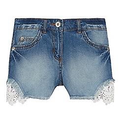 bluezoo - Girls' Light Blue Lace Trim Denim Shorts