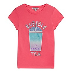bluezoo - Girls' Bright Pink Sequinned 'Bubble Tea' T-Shirt