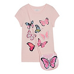 bluezoo - Girls' Pale Pink Butterfly T-Shirt and Sequin Bag Set