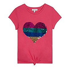bluezoo - Girls' Pink Sequinned Heart Top
