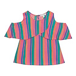 bluezoo - Girls' multicoloured striped cold shoulder top