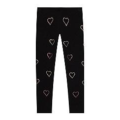bluezoo - Girls' Black Diamante Heart Leggings