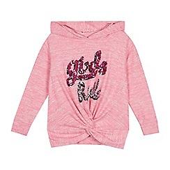 bluezoo - Girls' Pink Sequinned 'Girls Rule' Hoodie