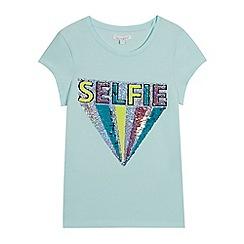bluezoo - Girls' Aqua Reversible Sequinned 'Selfie' T-Shirt