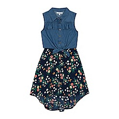 bluezoo - Girls' Navy Floral Print Mock Dress