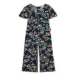bluezoo - Girls' navy floral print jumpsuit